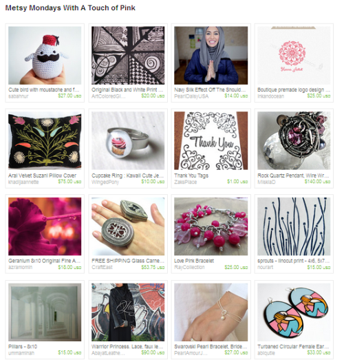 A collection of hijabs, abayas, jewelry, artwork and other Muslimmade items on Etsy.