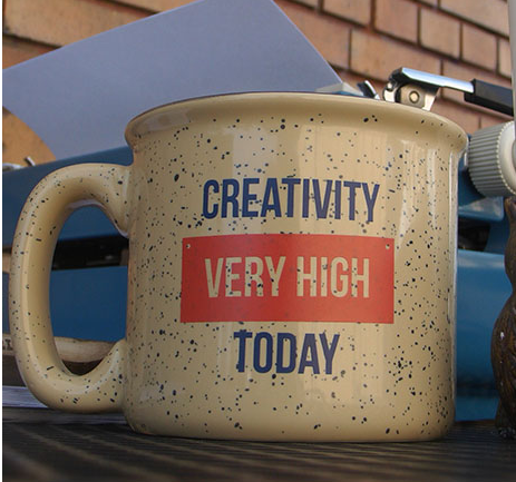 "CC: Mug from my NaNoWriMo newsletter this am, says ""Creativity very high today."""
