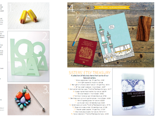 Some items from Muslimah Etsy sellers: journal, popsicle earrings,  hijab pin, 'IQRA' book ends.
